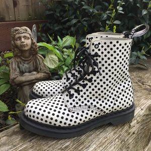 Dr Martens Pascal B&W Polka Dot Combat Boots